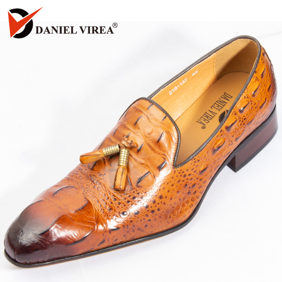 debf8e044d Autumn Winter Men Casual Loafers Office Luxury Brand Leopard Print Brown Formal  Alligator Genuine Leather Slip-on Dress Shoes