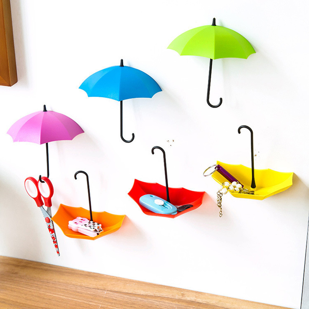 Dropshipping 3pcs/set Cute Umbrella Wall Mount Key Holder Wall Hook Hanger Organizer Durable