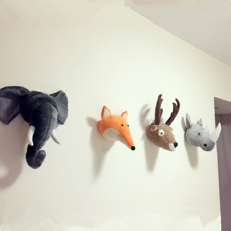 Animals Deer Elephant Panda Rhinoceros Head Wall Mount Nordic Kids Room Kindergarten Decor Stuffed Dolls Plush