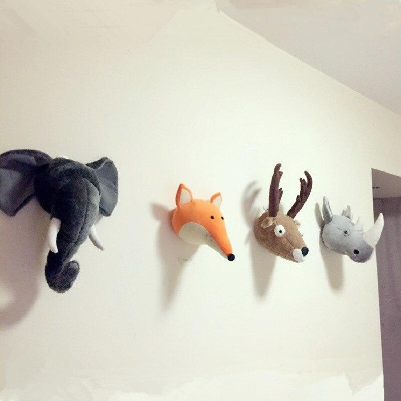 Animali Deer Elefante Panda Rinoceronte Testa di Montaggio A Parete Nordic Camera Dei Bambini Scuola Materna Della Decorazione Della Peluche Ripiene Dolls Peluche Opera D'arte Della Parete Giocattoli