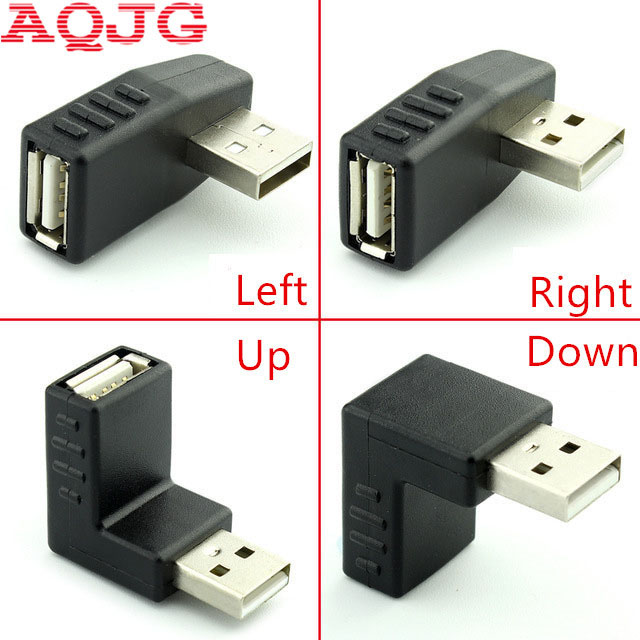 90 degree USB 2.0 A male to female Left and right angled adapter USB 2.0 AM/AF Connector for laptop PC Computer Black AQJG usb 3 0 a female to a female f f converter adapter usb3 0 af to af coupler connector extender converter for laptop pc