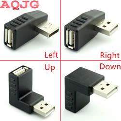 90 градусов USB 2,0 мужчин и женщин левый и правый угловой адаптер USB 2,0 AM/AF разъем для портативных ПК компьютер Черный AQJG