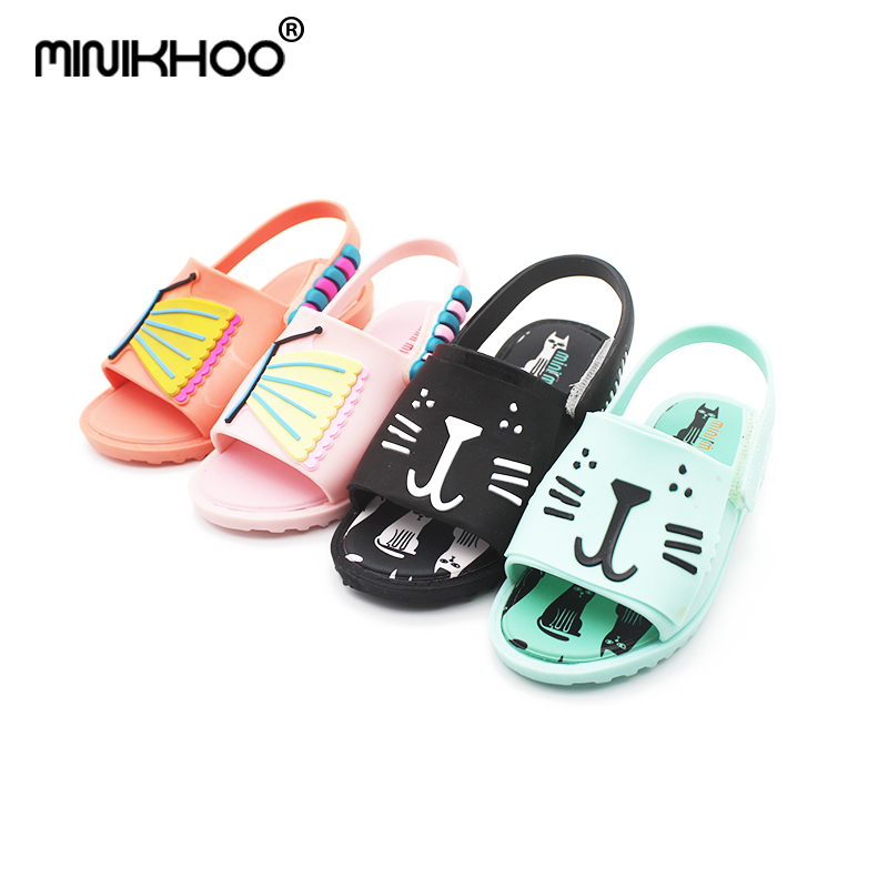 Mini Melissa Cat Girl Jelly Sandals 2018 Summer New Girls Sandals Jelly Shoes Melissa Baby Shoes Waterproof Plastic Sandals Shoe