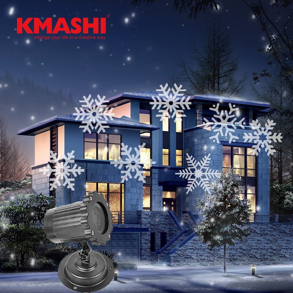 Kmashi LED Snowflake Projection Light Night Light Projector Lamp Garden Party Lawn Christmas Decoration Landscape light EU IP65