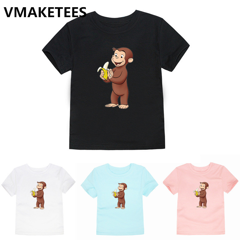 Children Curious George Cartoon Print T-shirt Girls/Boys Monkey Short <font><b>Animal</b></font> <font><b>Baby</b></font> Clothes Kids Summer <font><b>Tshirt</b></font>,HKP5266G image