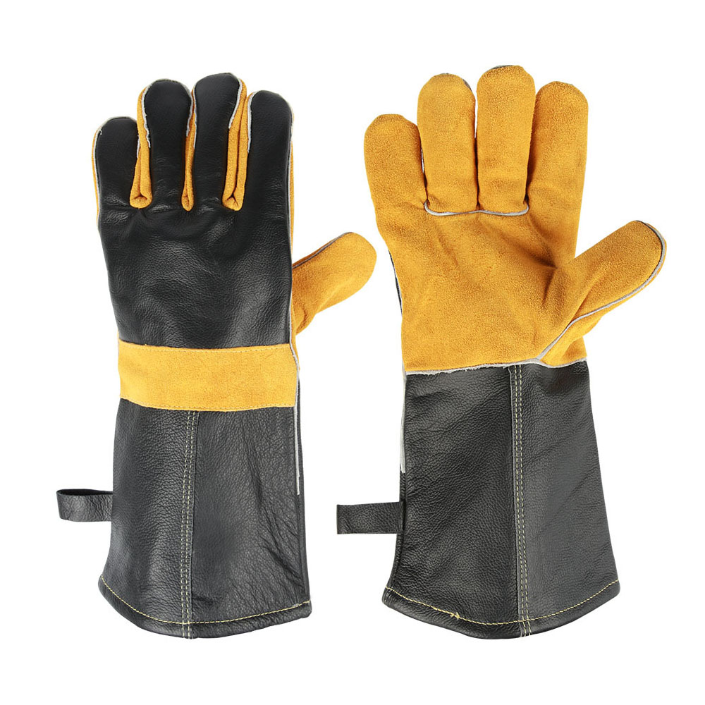 Home BBQ Oven Microwave High Temperature Fire Resistant Flame Retardant Gloves Cow Leather 36cm Free Size Glove