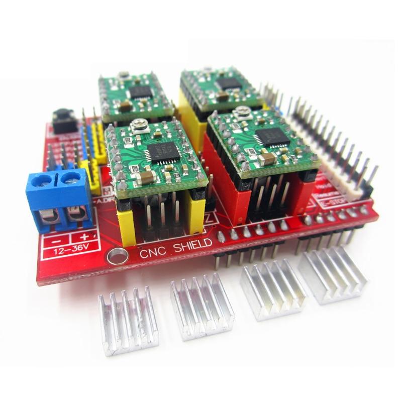 New cnc shield v3 engraving machine / 3D Printer / + 4pcs A4988 driver expansion board hf 3dv3 cnc v3 expansion module red