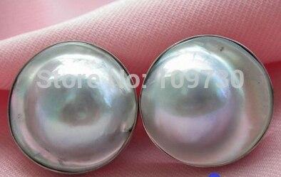 Ry00353 boucle d'oreille en argent perle MABE de mer du sud gris réel (A0425)