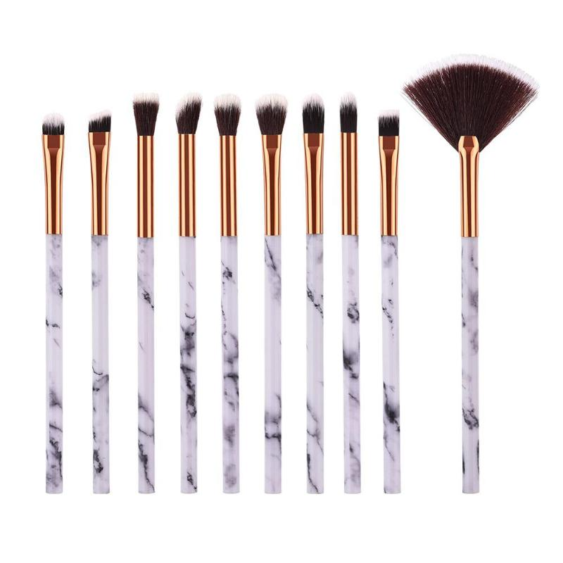 10pcs Professional Marble Pattern Make Up Brushes Set Small Brush Face Eye Highlight Eyebrow Eyelash Beauty Cosmetic Tools Kits