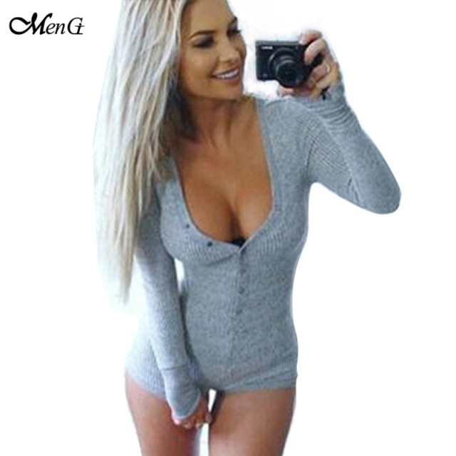 8b645bbfa3b2 Sexy Women Knitted Bodycon Jumpsuit Lady Slim Long Sleeve Bodysuit Shorts  Romper Knitwear Plunge V Neck Stretch Leotard Playsuit