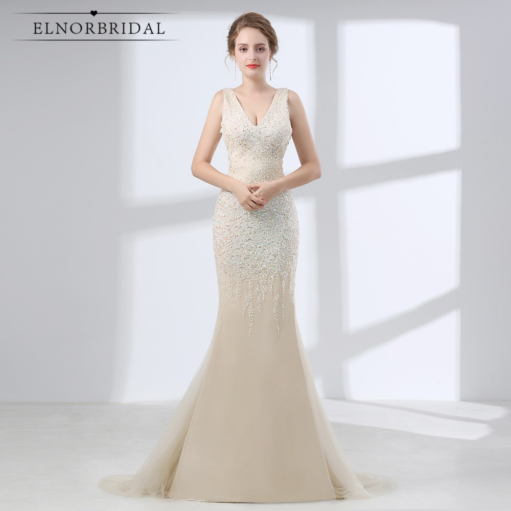Champagne Mermaid Prom Dresses Long 2019 V Neck Open Back Formal Party Dress Beading Vestido Formatura Women Evening Gowns