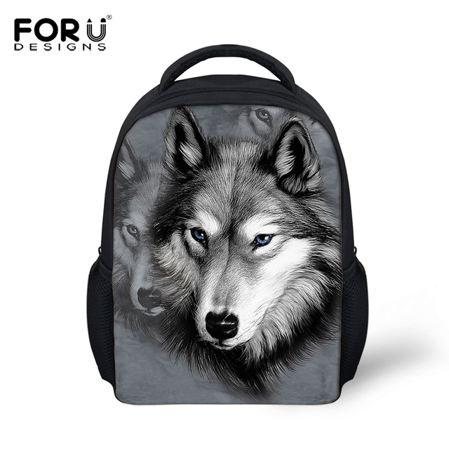 New 3D Wolf Head Children Book Bags For Girls Boys Cute Cartoon Animal Schoolbag  Kids School 9cbe66f69a28a