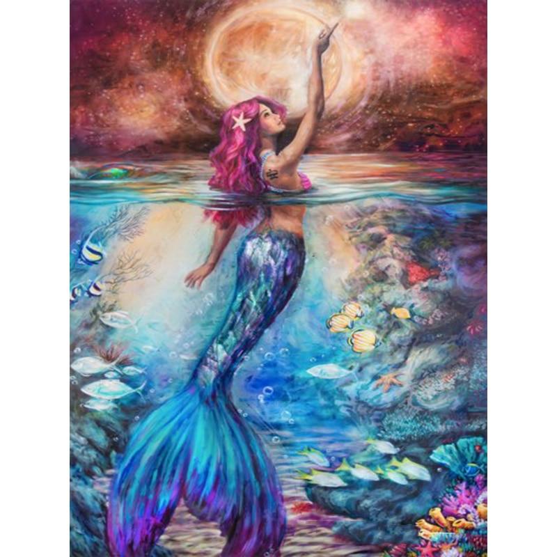 5d Diy Diamond Paintings Cartoon Mermaid Cross Stitch Full