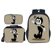 Купить с кэшбэком Hot Sale 3Pcs/Set Cartoon Game Bendy and The Ink Kids Baby School Bags for Children Backpacks for Boys Schoolbag Student Bookbag
