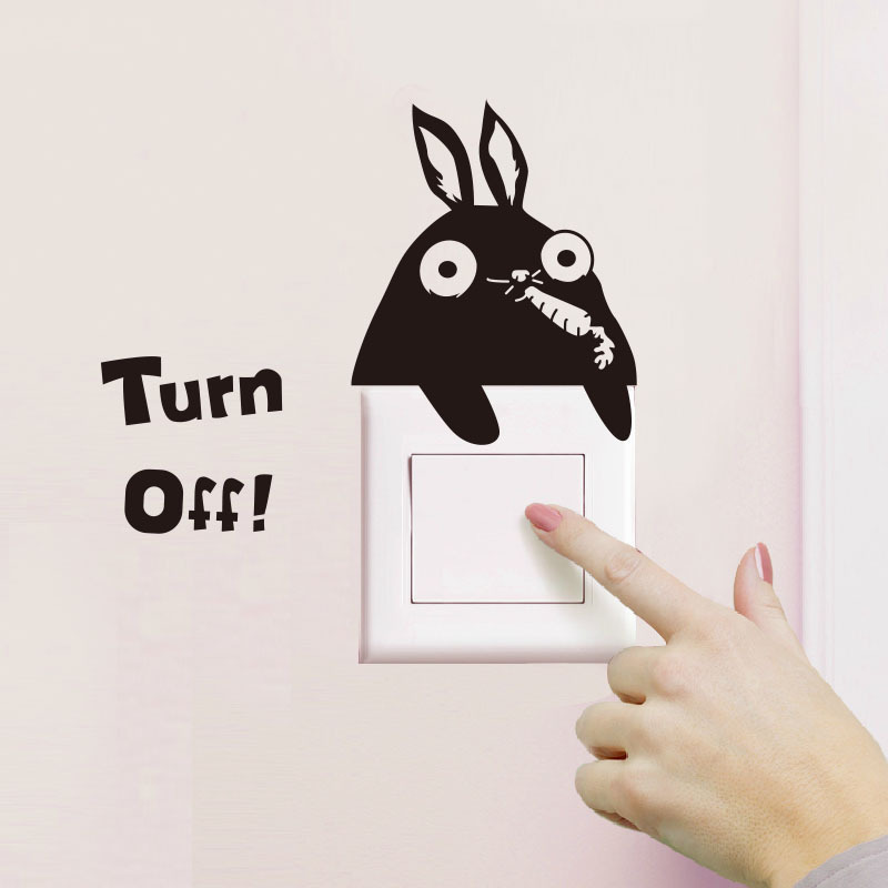 Bunny Eats Radish Wall/Switch Sticker Cute Animals Living Room Fridge Home Decoration Art Decals Removable Switch Stickers