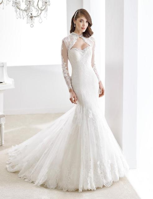 d761698ee56c Long Sleeve High Neck Wedding Dresses Sexy Keyhole Front Lace Open Back  Wedding Gown Vestido Noiva Sereia L764