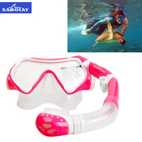 SABOLAY Professional Child Snorkel Equipment Swimming Eyewear Full Dry Breathing Silicone Tube Underwater Scuba Diving Goggles
