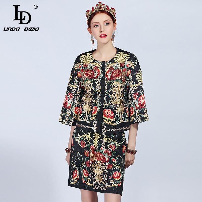 LD LINDA DELLA Nouveau 2018 Mode Piste Automne Hiver Veste de Costume Set Femmes et Vintage Imprimé Floral Mini Jupes ensembles