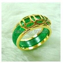 XFS20141er> унисекс ювелирные изделия камень зеленый нефрит кольцо Размер: 7#8