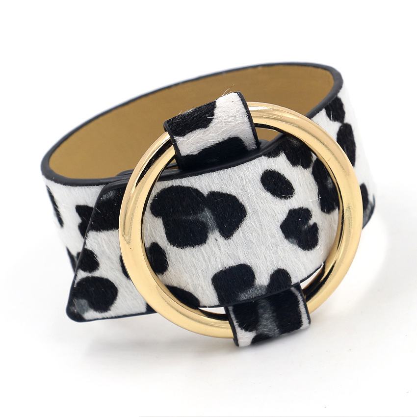 Rainbery Charm Wide Leopard PU Leather Bracelets Multicolor Metal Gold Big Circle Wrap Bracelet Femme Wristband Jewelry