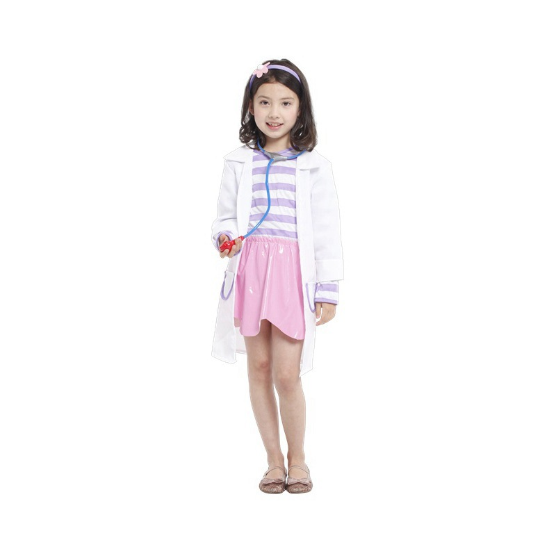 Hot Funny Halloween Costume For Kids Kindergarten Girls Doctors Vocational Nurse Role Play Performance Clothing White Coat YW009