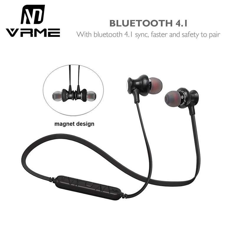 Vrme Bluetooth Headphone Wireless Gym Sport Earphone Stereo Headset with Microphone For iphone 7 6 Samsung Android Mobile Phone 2017 new stereo wireless bluetooth 3 0 handsfree headset earphone with charging cable for iphone 6 samsung
