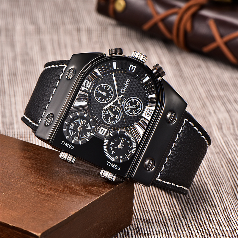 Luxury Brand Oulm Watch Quartz Sports Men Leather Strap Watches Casual Male Mili