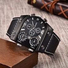Oulm montre bracelet en cuir pour hommes, de marque de luxe, à Quartz, sport, décontracté, militaire, livraison directe