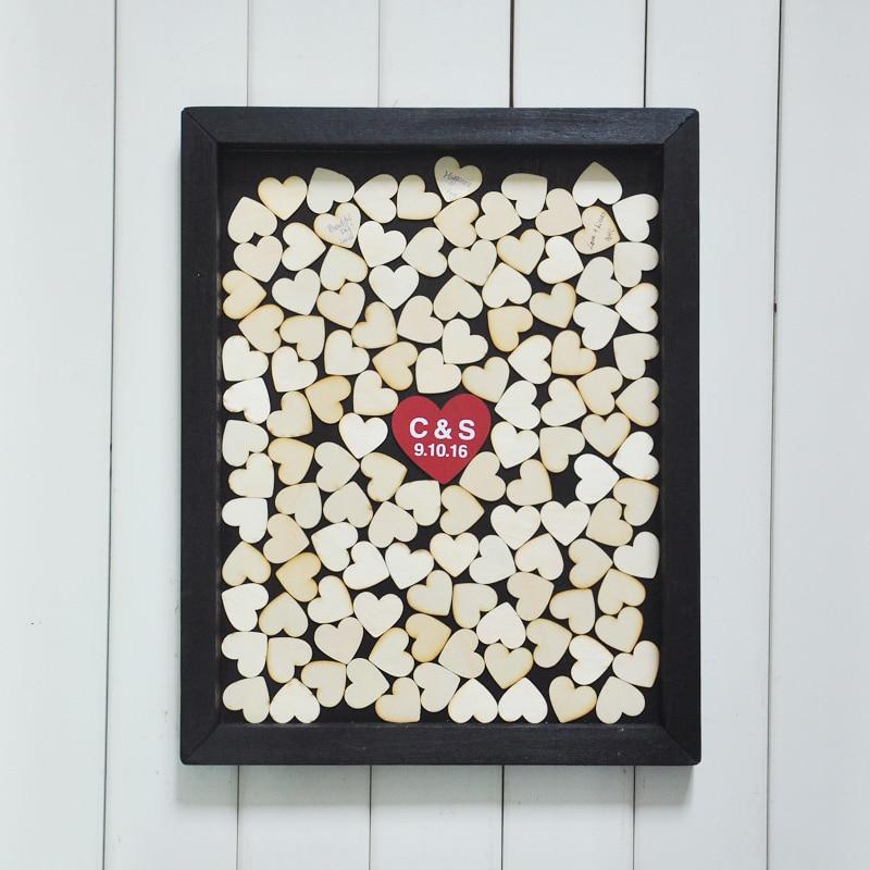 Unique Wedding guest book Custom wedding gift wood Heart