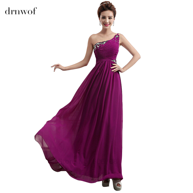 One Shoulder Purple Bridesmaid Dresses with Sequined 2017 New ...