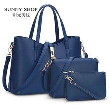 SUNNY SHOP Europäischen und Amerikanischen Modemarke Designer Frauen Handtaschen Hohe qualität PU leder Mode Umhängetaschen 3 bags/set