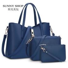 Sunny shop diseñador de la marca de moda de europa y américa las mujeres bolsos de alta calidad de cuero de la pu hombro de la manera 3 bags/set