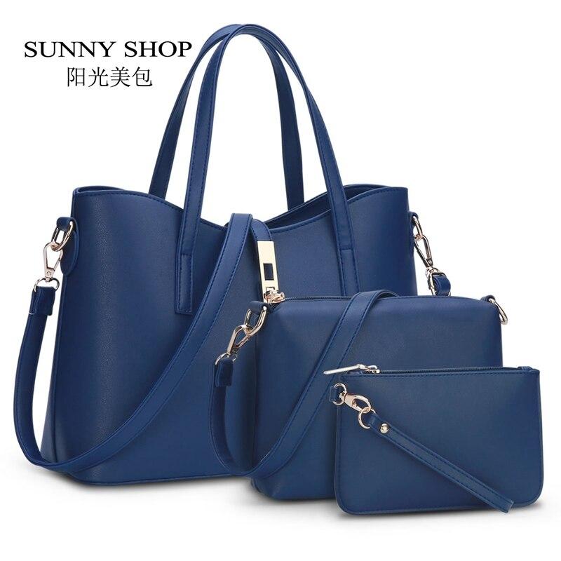 SUNNY SHOP European and American Fashion Brand Designer Women Handbags High quality PU leather Fashion Shoulder Bags 3 bags/set