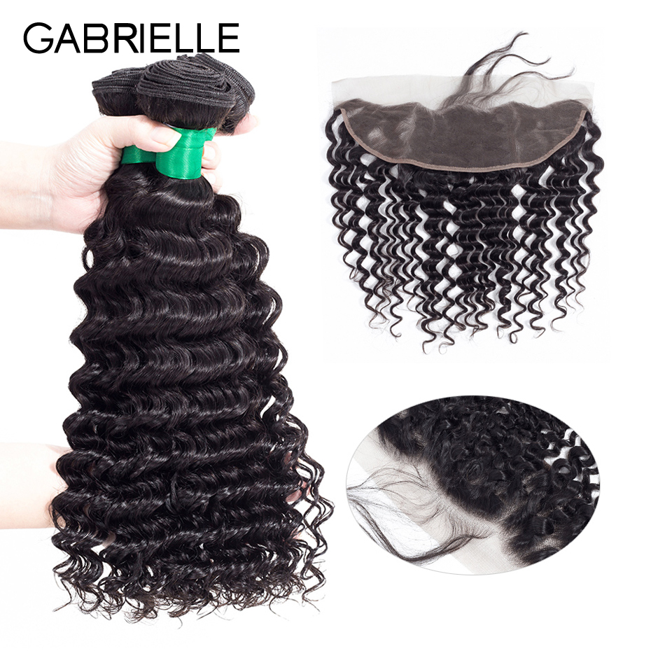 Gabrielle Human Hair Brazilian Deep Wave 3 Bundles with Lace Frontal 13x4 Natural Color Non Remy Hair Weaves 4 pcs/lot 8-28 inch