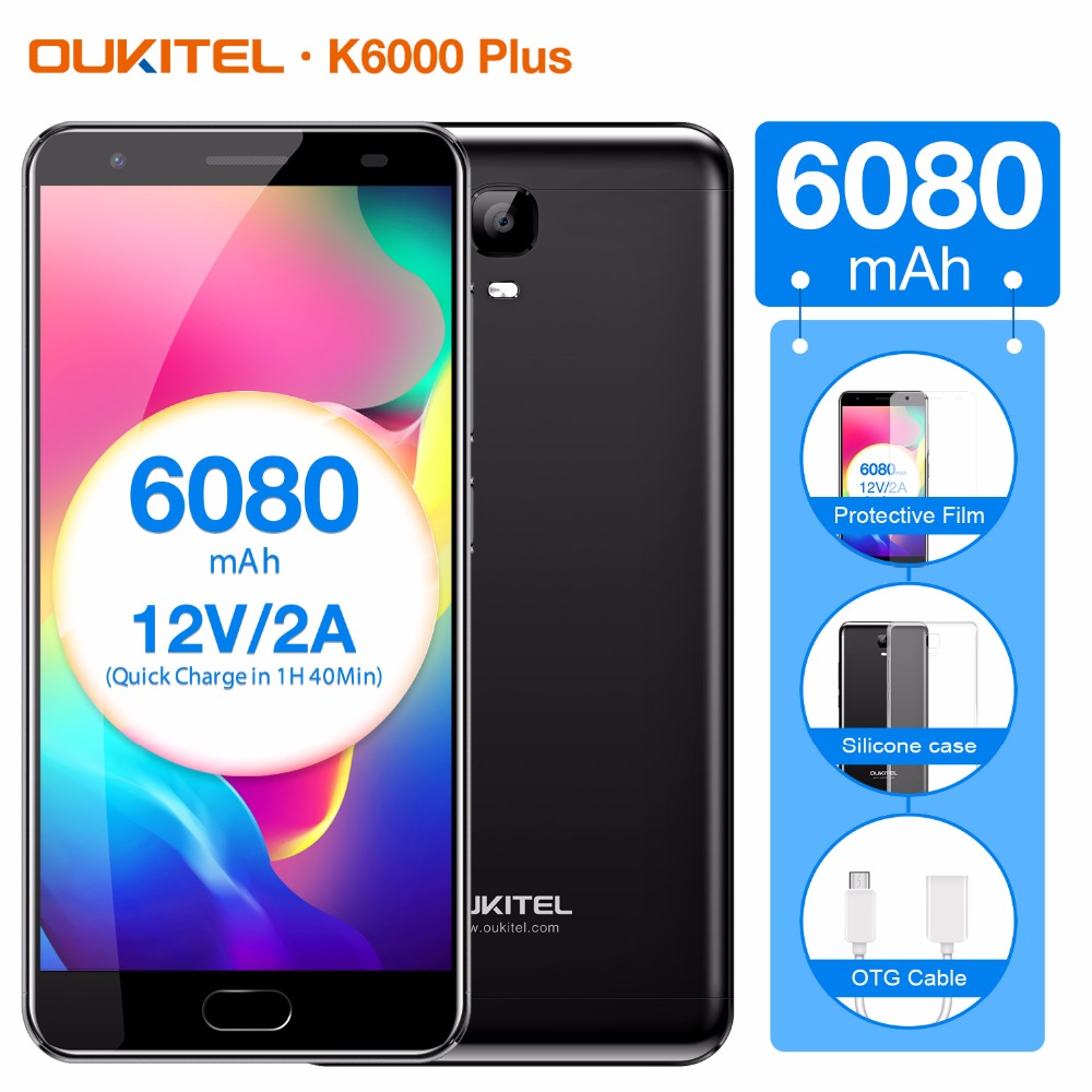 Original OUKITEL K6000 Plus Cellphone 64GB ROM 4GB RAM 5.5 inch Android 7.0 MTK6750T Octa Core 1.5GHz OTG 16.0MP 4G LTE 6080mAh