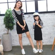 2016 Cotton Mother Daughter Dresses Striped Pattern Family Matching Outfits Long Sleeve Kids Dresses For Girls Autumn