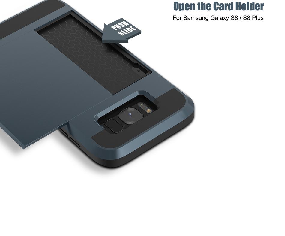 For Samsung S8 Plus Armor Case Galaxy S8 Hidden Card Slot Phone Cases  (3)