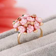 Flower ring earrings set Personality fashion female crystal ceramic flowers simple and