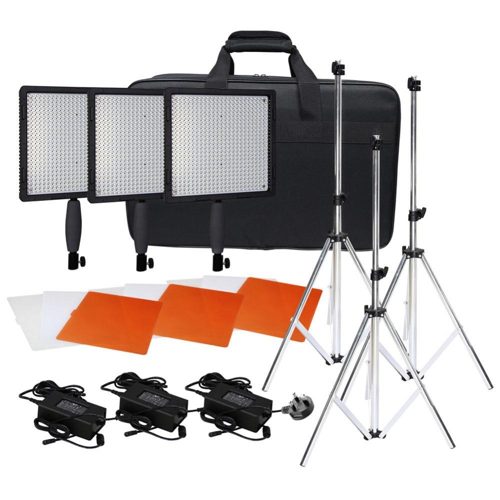 Neewer CN-576 576PCS LED Dimmable Ultra High Power Panel Digital Camera/Camcorder Video Light Kit:(3)LED Video Light+(3)Adapter
