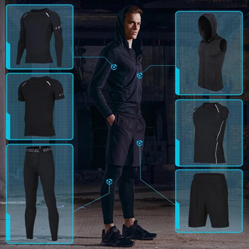 Quick Dry 6PCS/Set Men Running Sports Suits  Basketball Compression Underwear Running Sets Sport Suits Gym Jogging Fitness Suits