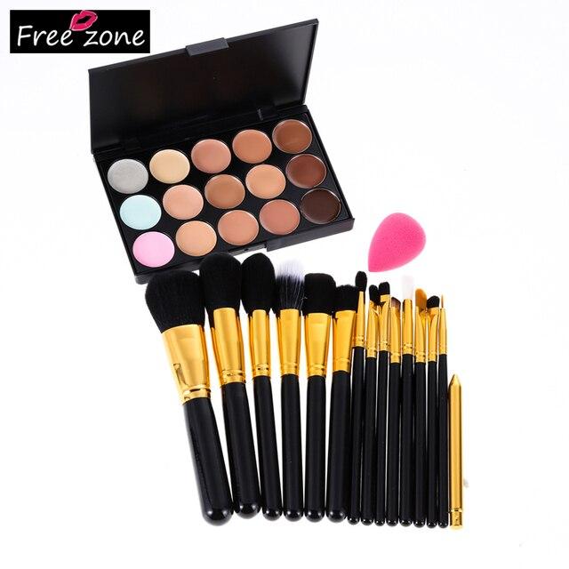 15 Colors Professional Contour Palette Makeup Corrector Concealer + Sponge Puff + 15 Pcs Makeup Brush Set proofreader for face