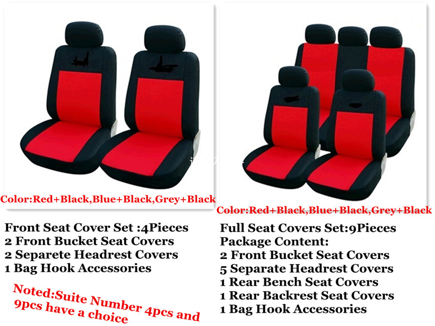 BLACK RED CAR SEAT COVERS FOR NISSAN MICRA VW LUPO