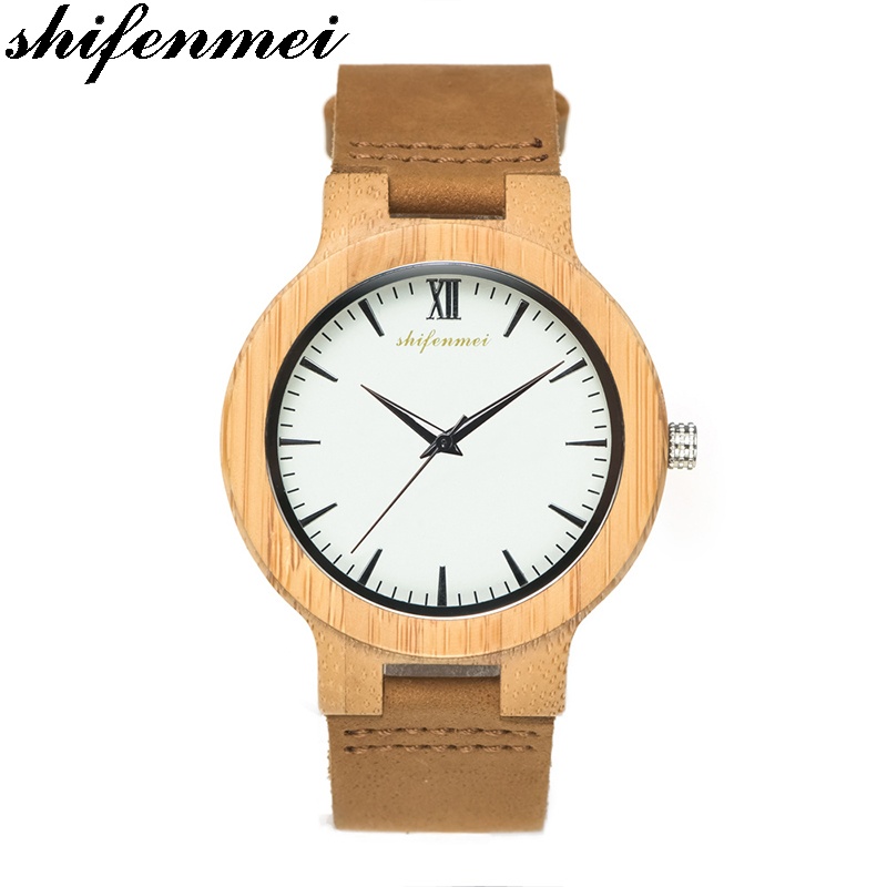 S2144 Hot Top sale fashion Quartz simple bamboo watch Masculino feminino Relogio Men Wrist Clock stainless steel Watchs button