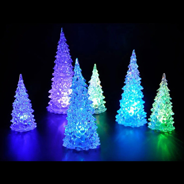 christmas tree night lamp ice crystal colorful changing led desk table light decor lighted christmas decoration - Led Lighted Christmas Decorations