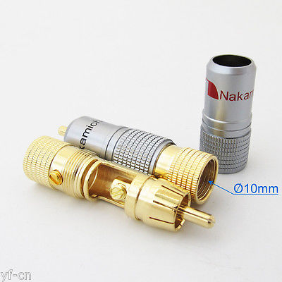 2x High Quality Gold Plated Nakamichi RCA Plug Locking Free solder A/V connector аксессуар rexant din 5pin plug 2 rca plug 1 5m gold 17 2512