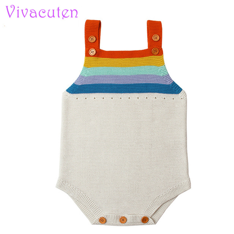 2018 Fashion Baby   Romper   Boys Girls Baby Clothes Rainbow Woolen Knitted Baby   Rompers   Summer Infant Baby Boys Jumpsuit Overalls