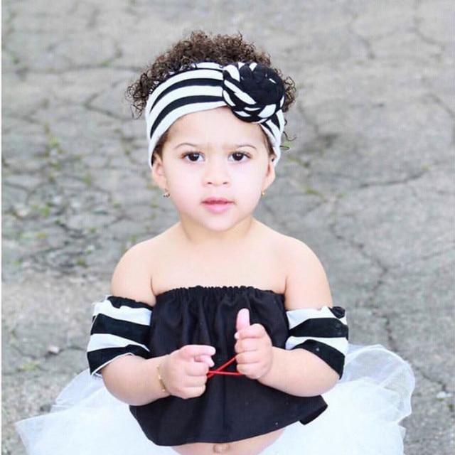 2018 Baby Cotton Cross Flower Rose Cotton Headbands Kids Front Knot Striped  Hairbands Children European USA Hair Accessories 3a79b85e543