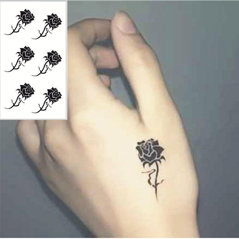 Tattoo Prices Small: Black Rose Flash Tattoo Hand Sticker 10.5*6cm Small