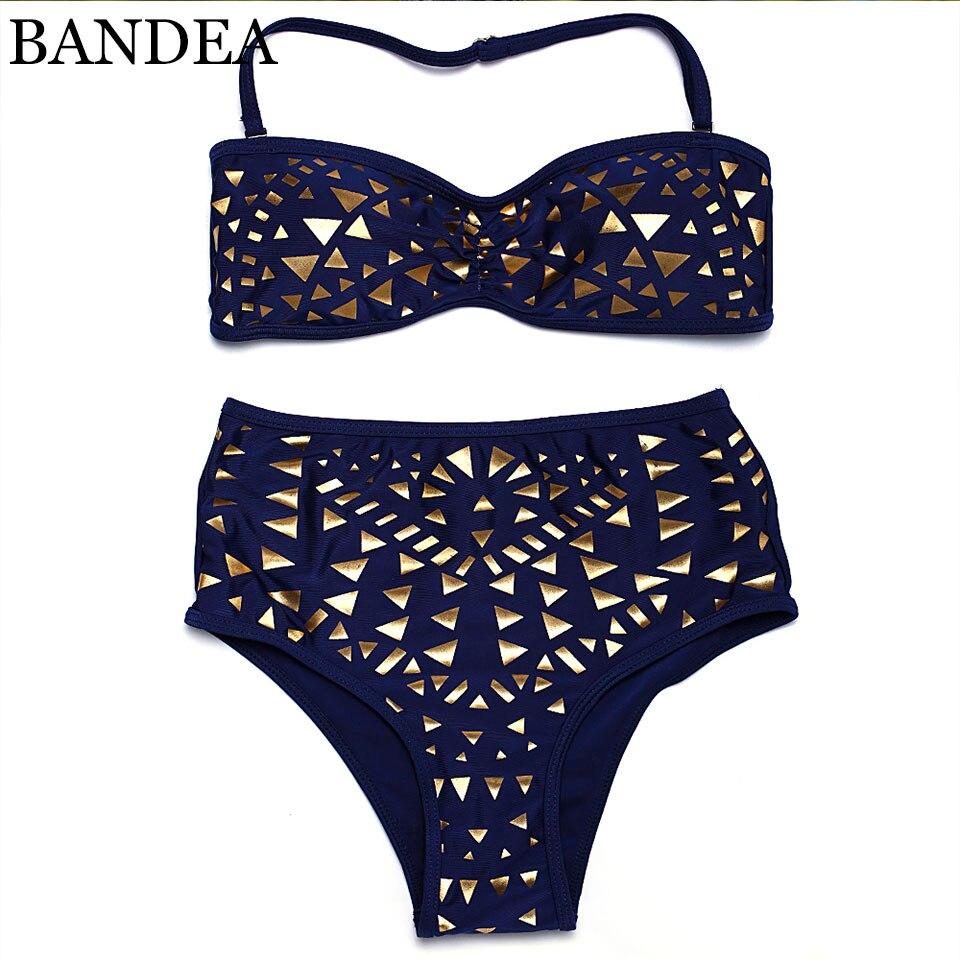 c58c0b823 Bikini 2019 sexy Push Up swimwear de ouro Imprimir bikini brasileiro  swimsuit Cintura Alta maiô Mulheres maiô maillot de bain