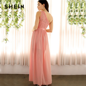 Image 2 - SHEIN Sexy rose dentelle une épaule fente avant mixte médias Maxi robe femmes Empire une ligne fente ourlet longues robes de fête dété